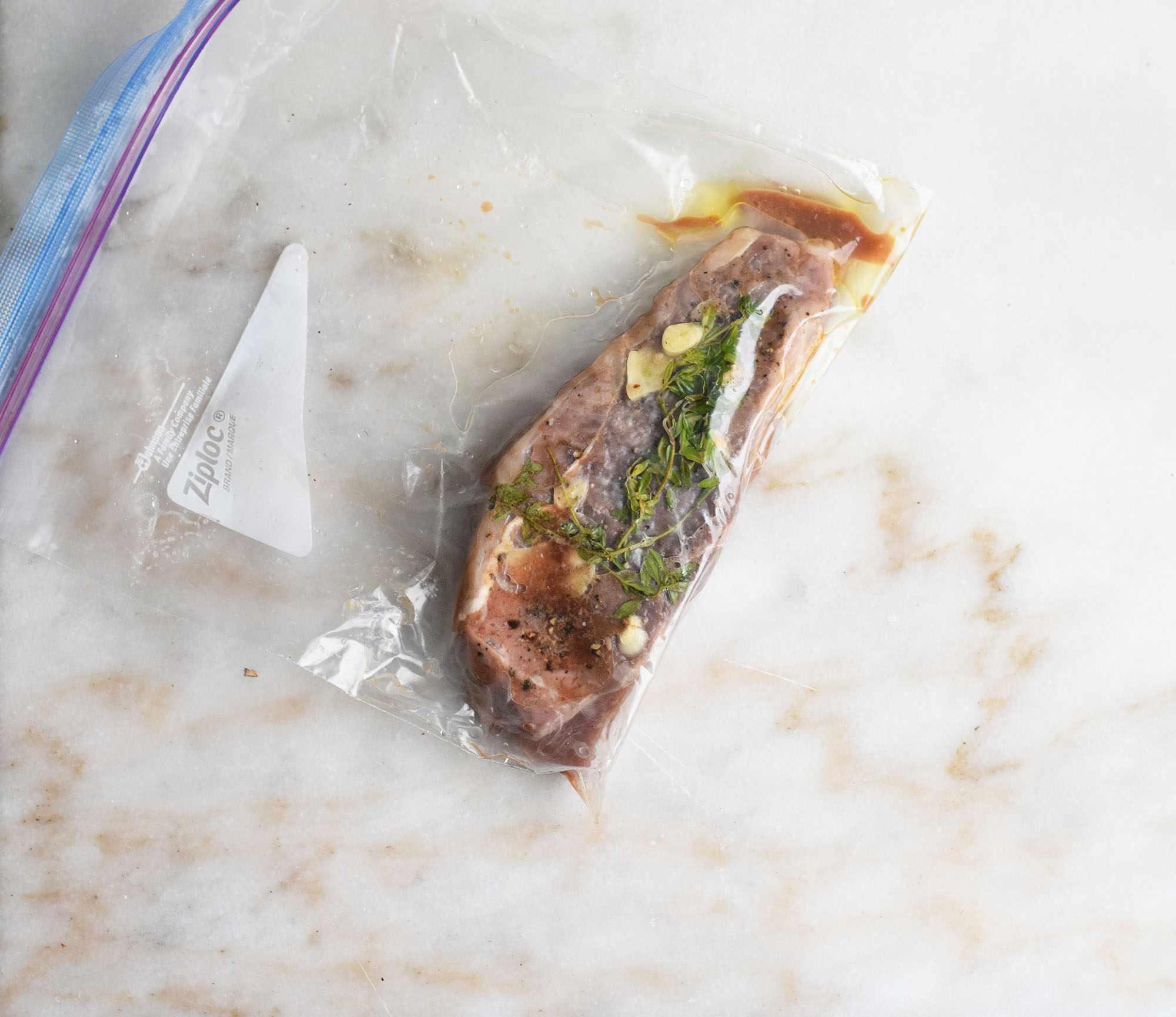 Sous vide steak in the bag
