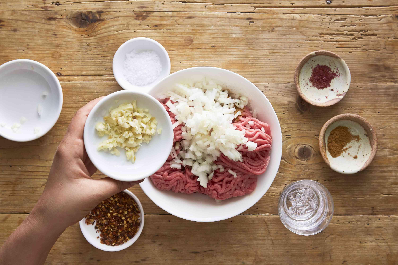 Kebab ingredients in a bowl