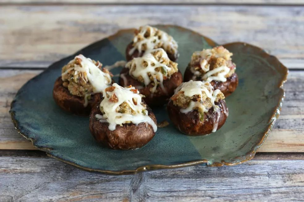 Stuffed mushrooms with bacon, cream cheese, and breadcrumbs