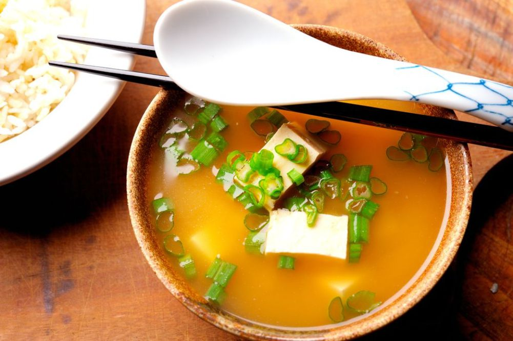 Miso Soup with Tofu, Bok Choy, and Scallions