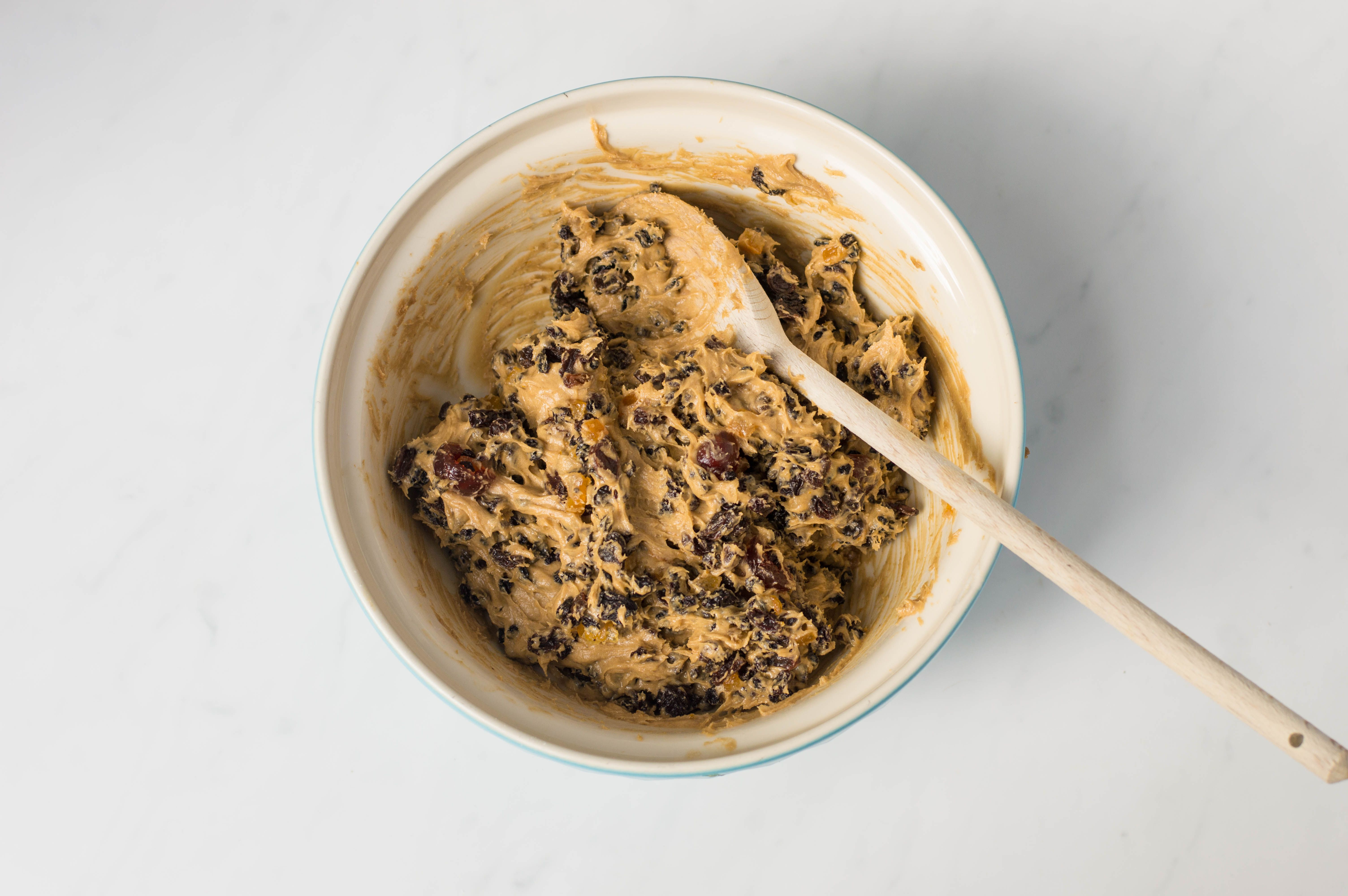Add the fruits into Scottish dundee cake batter