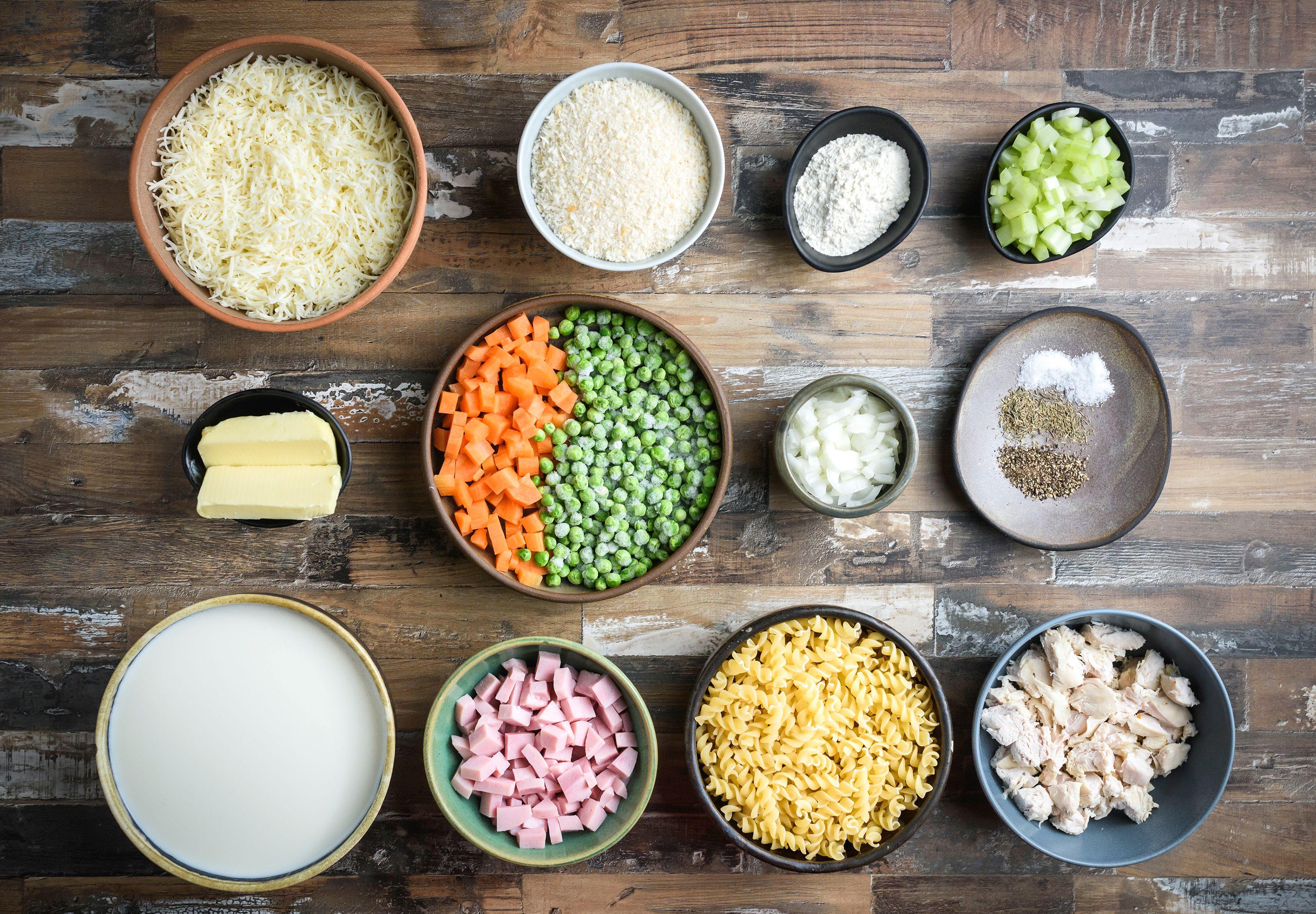 Turkey, Ham, and Swiss Cheese Casserole recipe ingredients