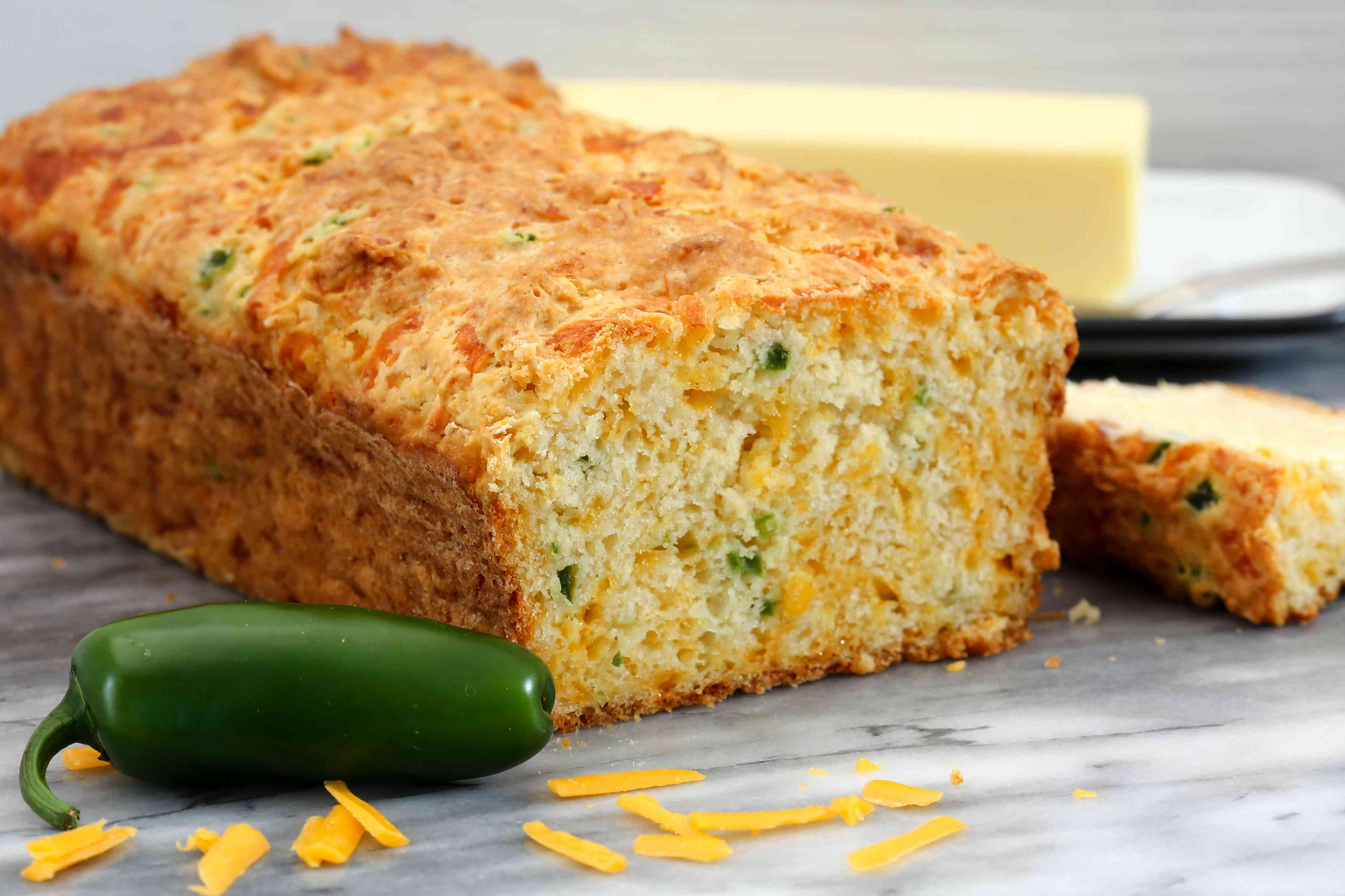 Jalapeño and cheddar cheese quick bread, sliced