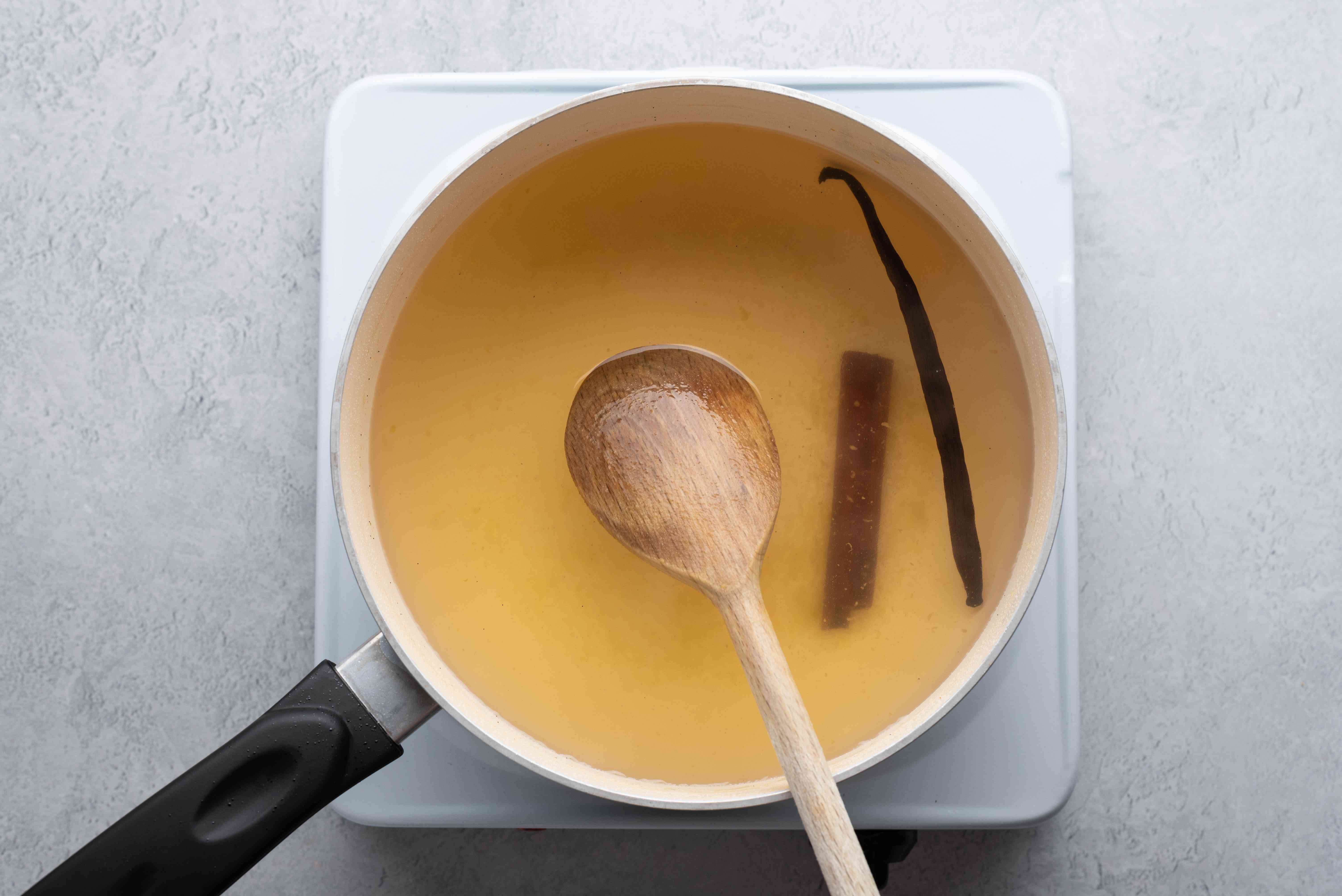 pear poaching liquid in a pot