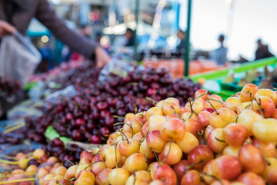 Cherries, separated For Sale At a Market Stall