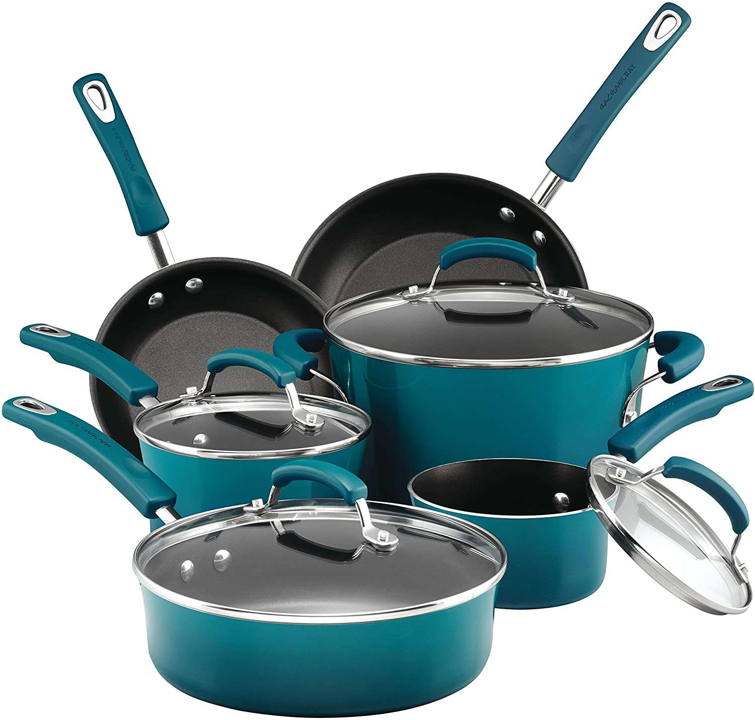 Rachael Ray 10 Piece Brights Nonstick Cookware Pots and Pans Set
