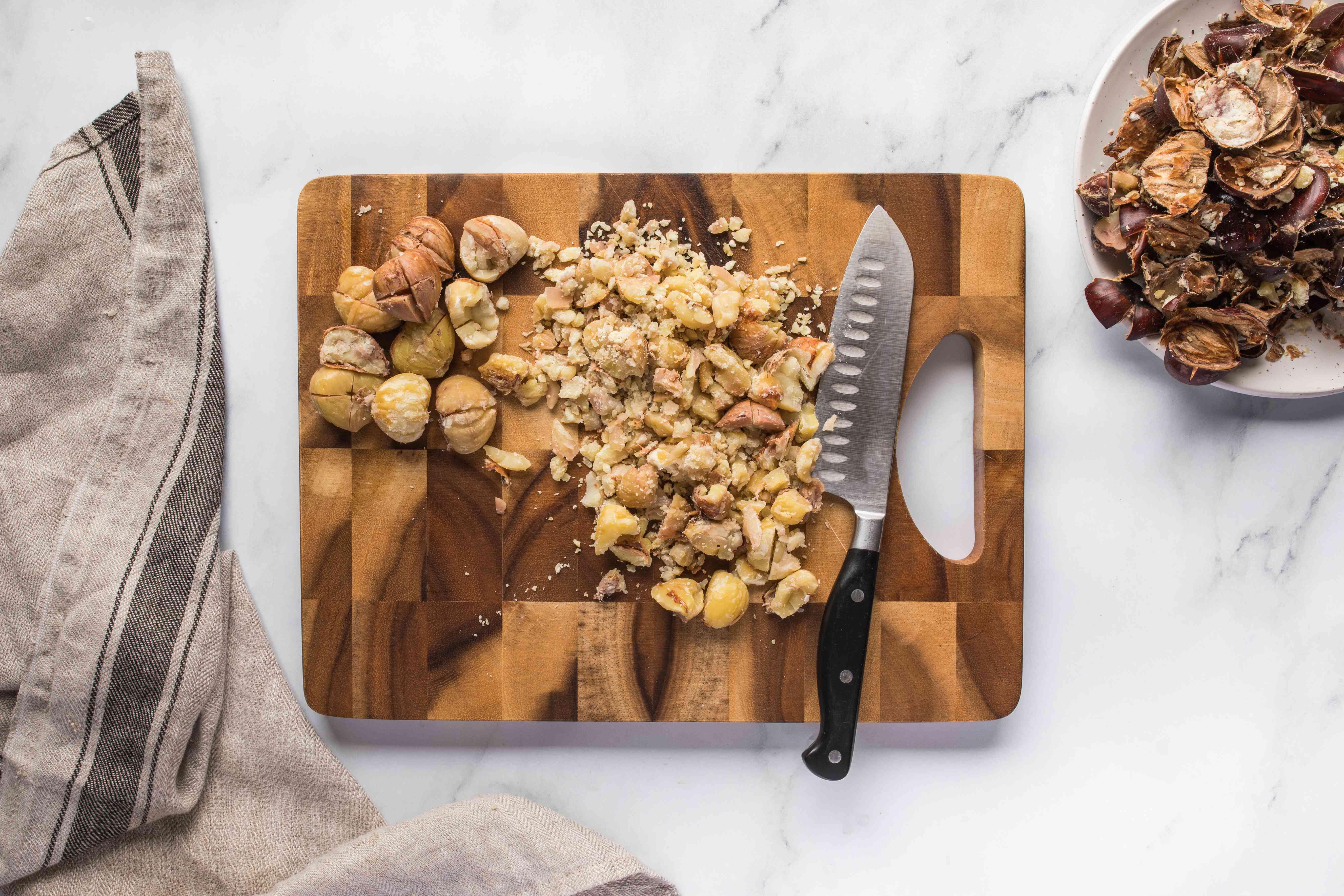 Peel chestnuts