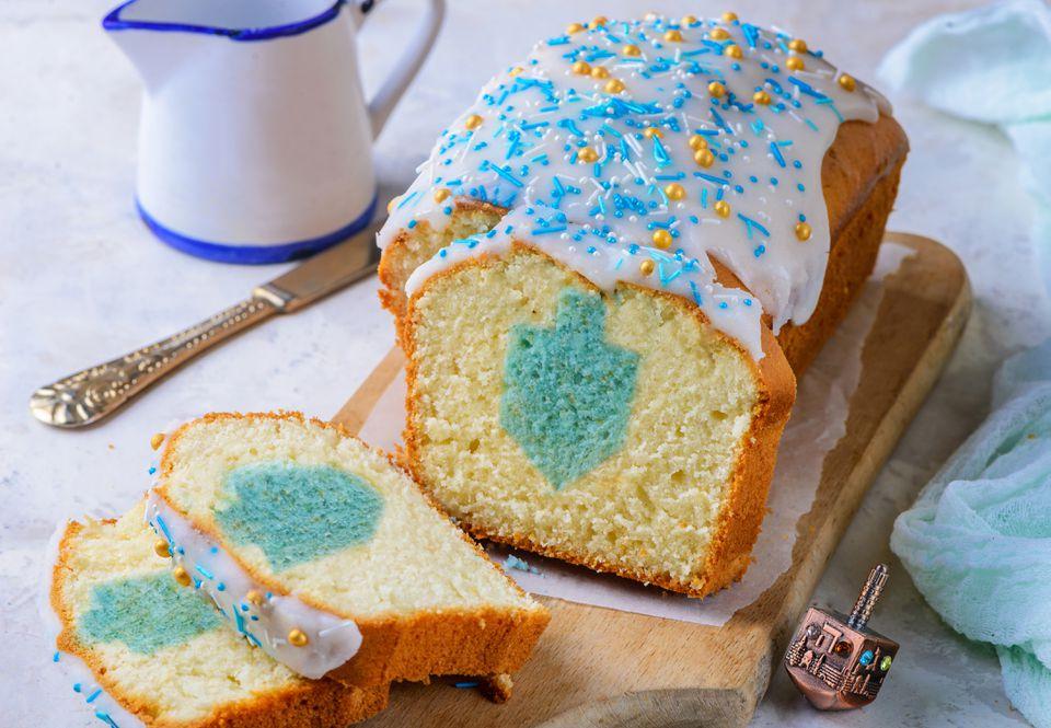 Hanukkah dreidel surprise cake recipe