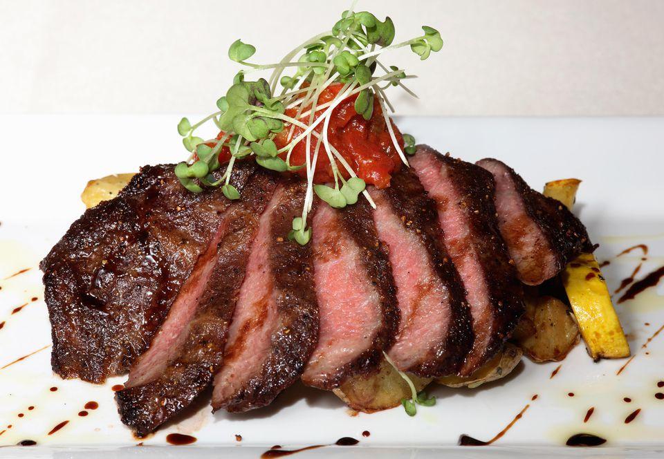 An artful presentation of grilled flat iron steak