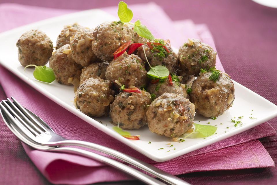 Lamb Meatballs on white plate