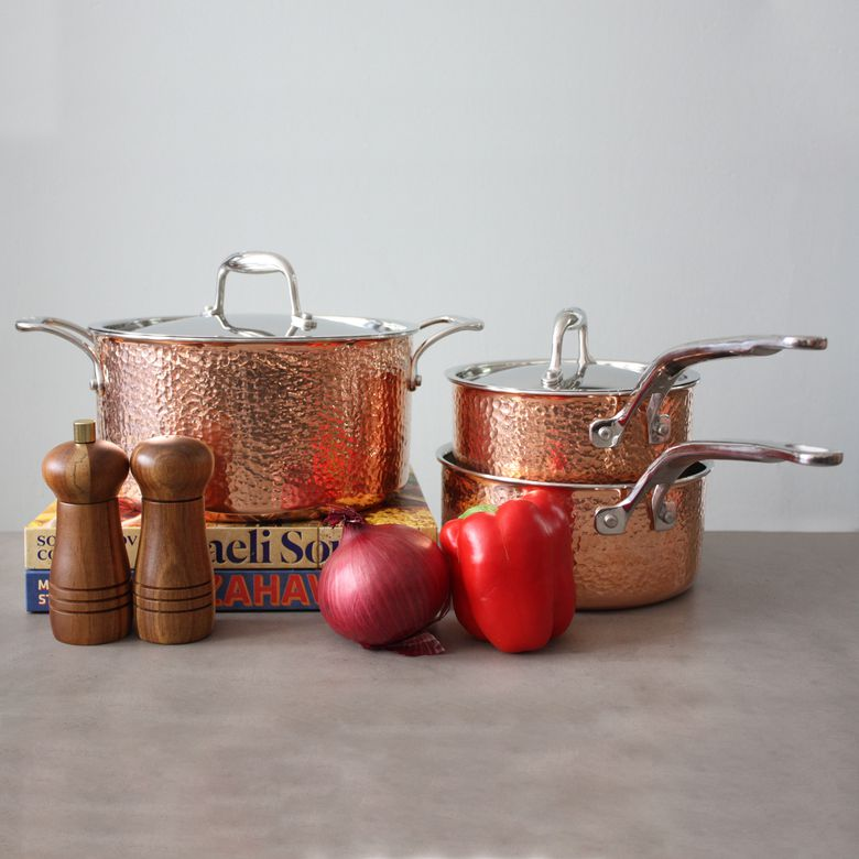 Lagostina Martellata 10-Piece Hammered Copper Cookware Set