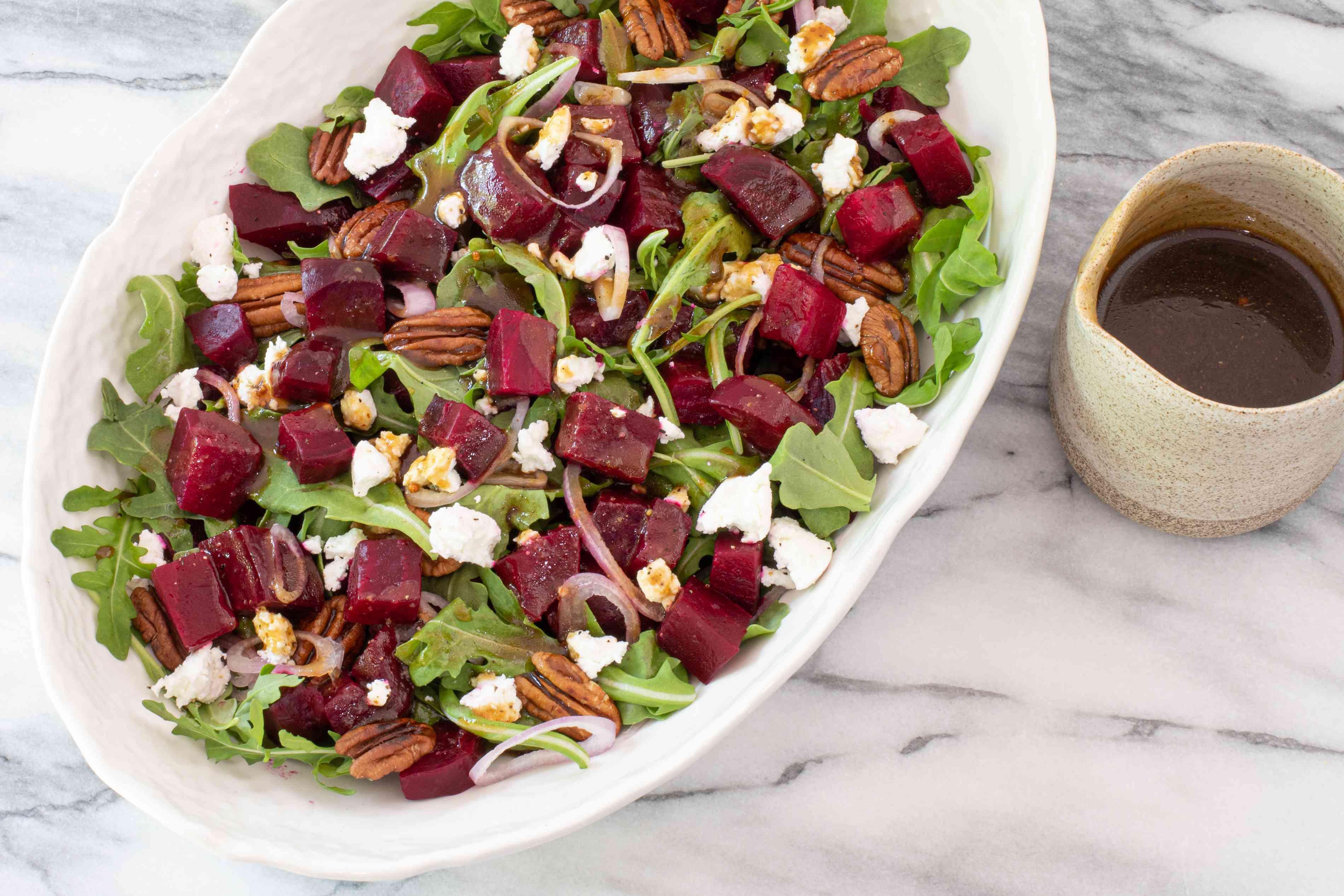 Beet salad with honey balsamic vinaigrette.