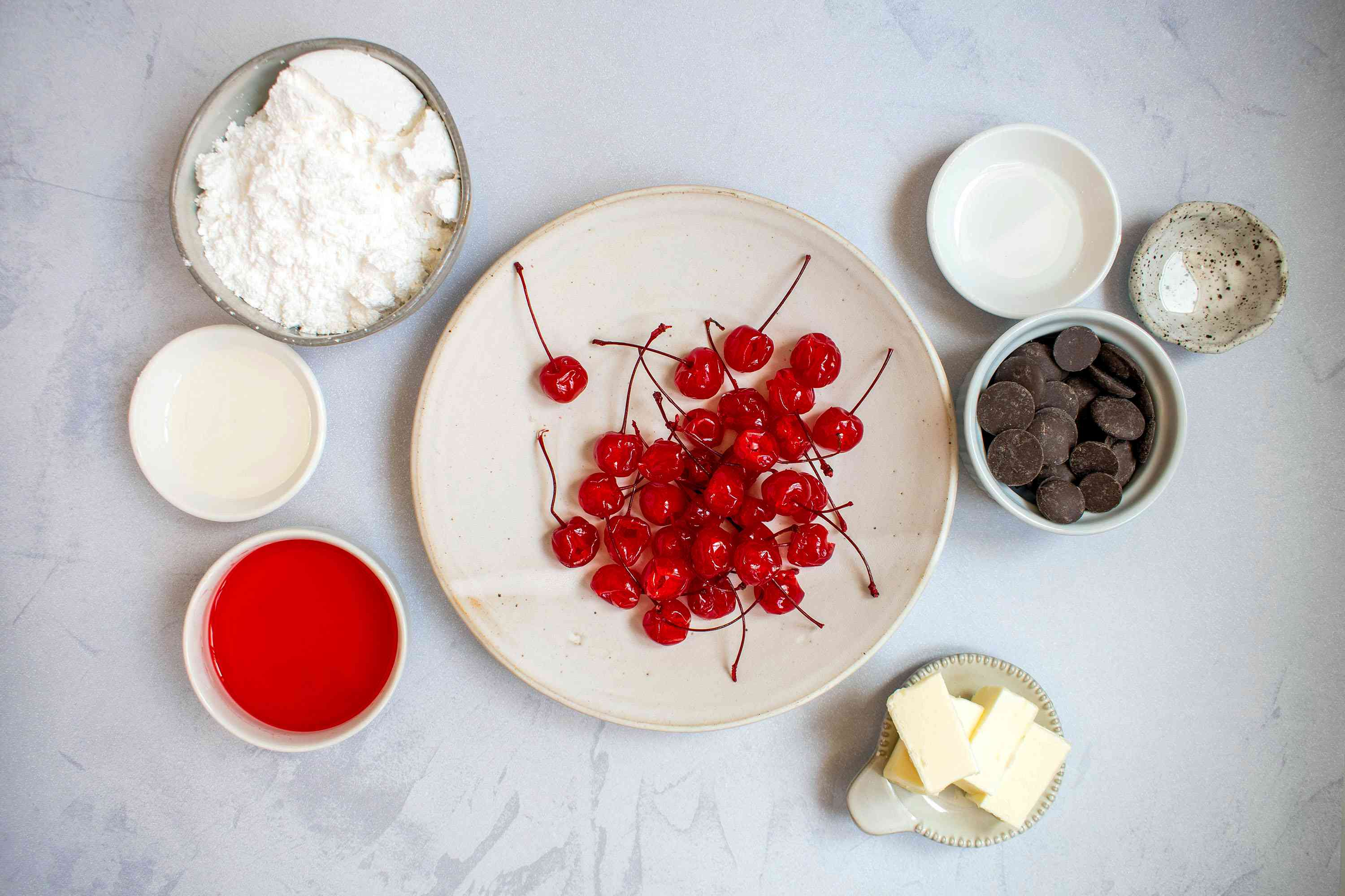 Ingredients for homemade chocolate-covered cherries