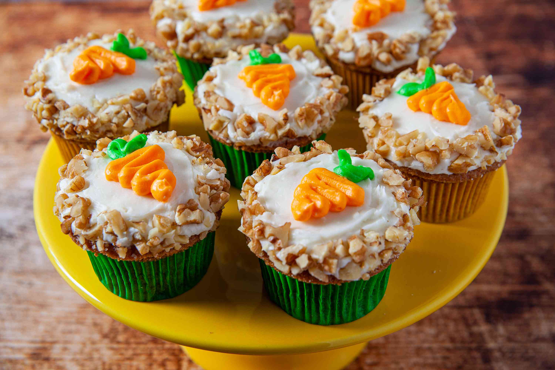 Carrot Cake Cupcakes on a pedestal