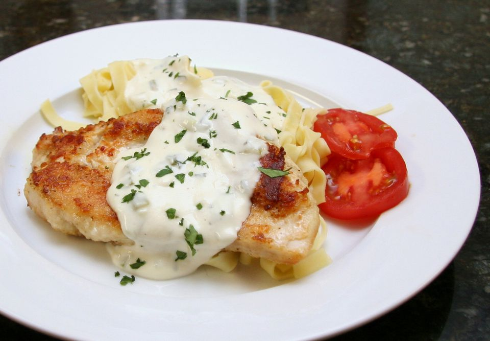Chicken with creamy mornay sauce