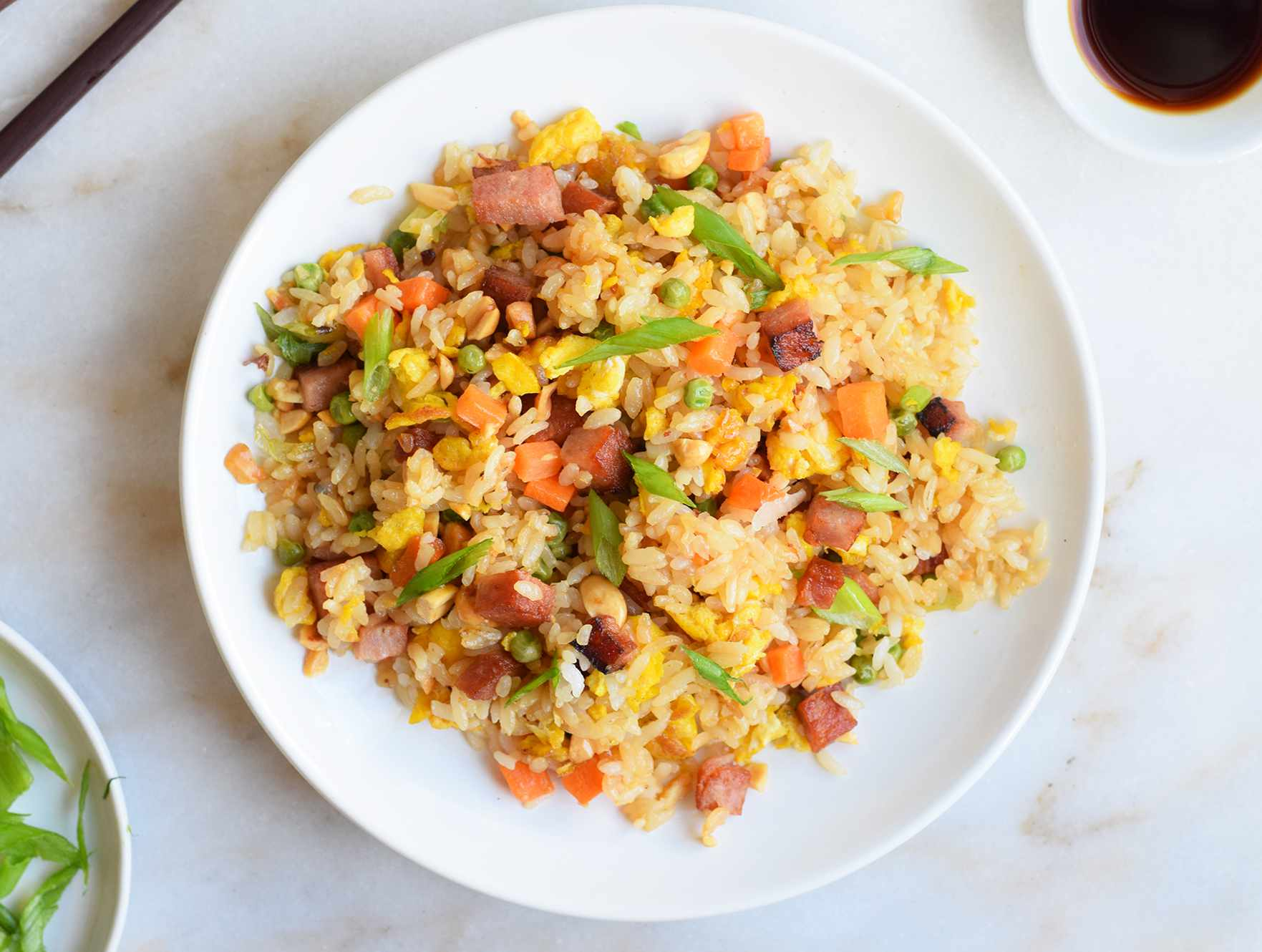 spam fried rice on a plate