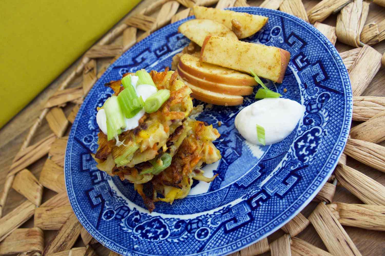Sunbasket meal on blue plate
