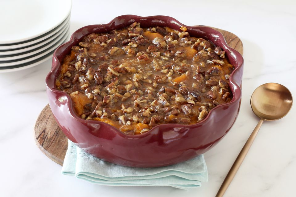 Sweet potato casserole in serving dish