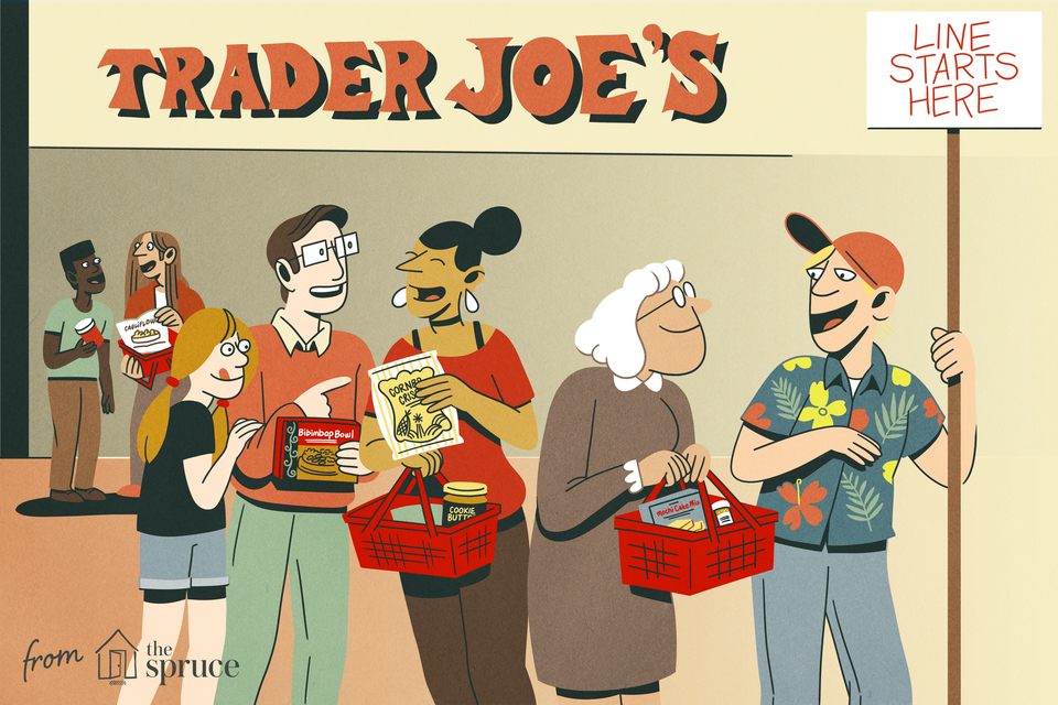illustration of people waiting in line at Trader Joe's