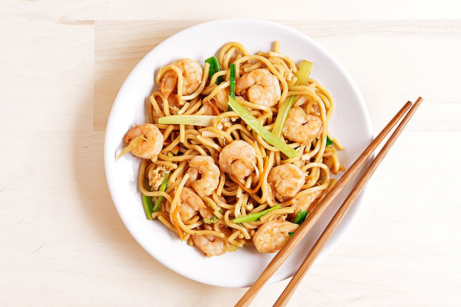 Shrimp stir fry noodles.