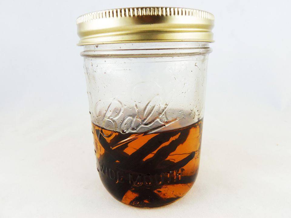 Non-alcoholic vanilla extract in a jar