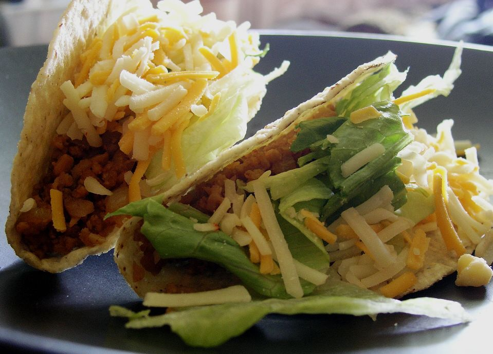 Vegetarian tacos with a TVP filling - quick, easy and delicious!