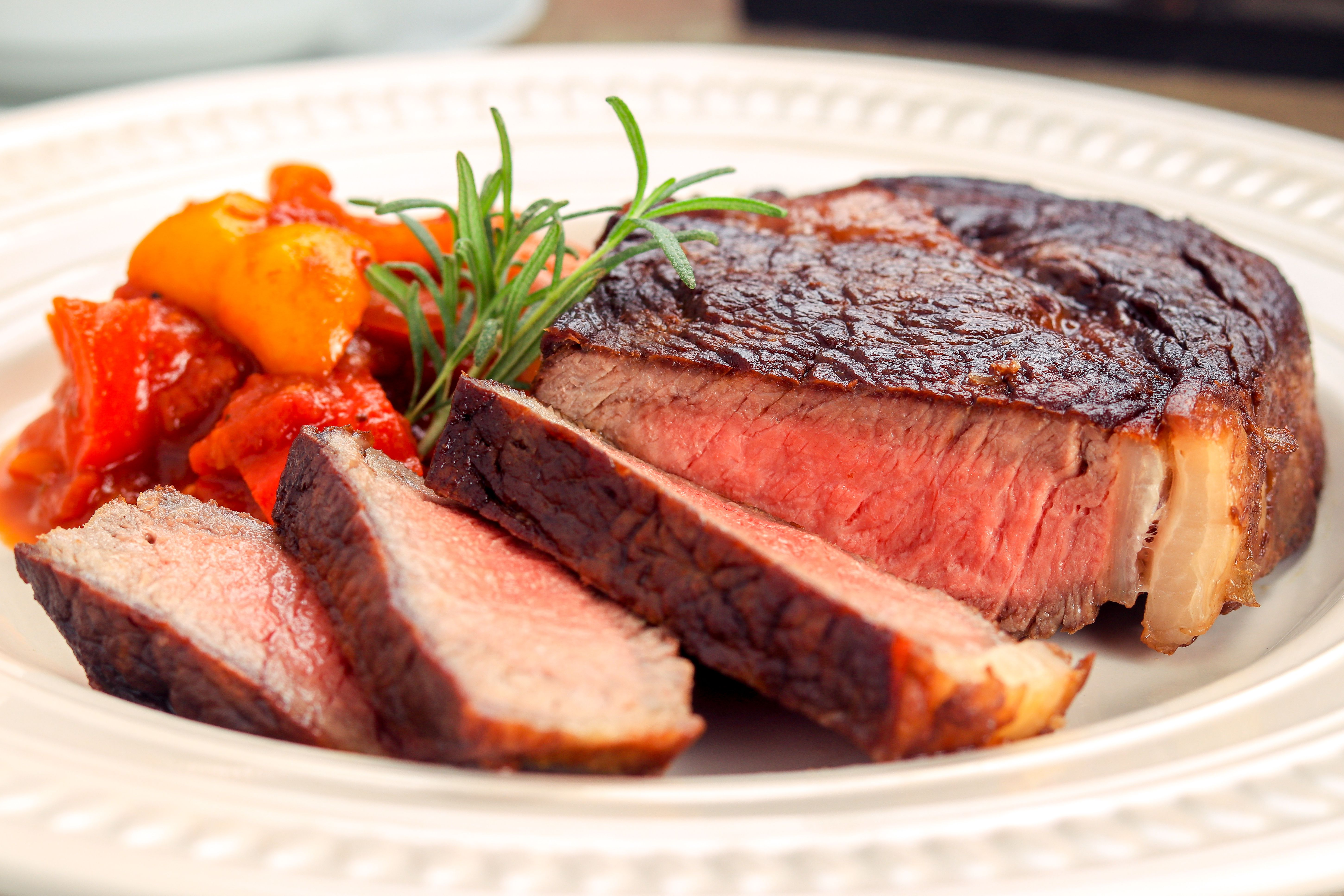 Butter-basted ribeye steak.