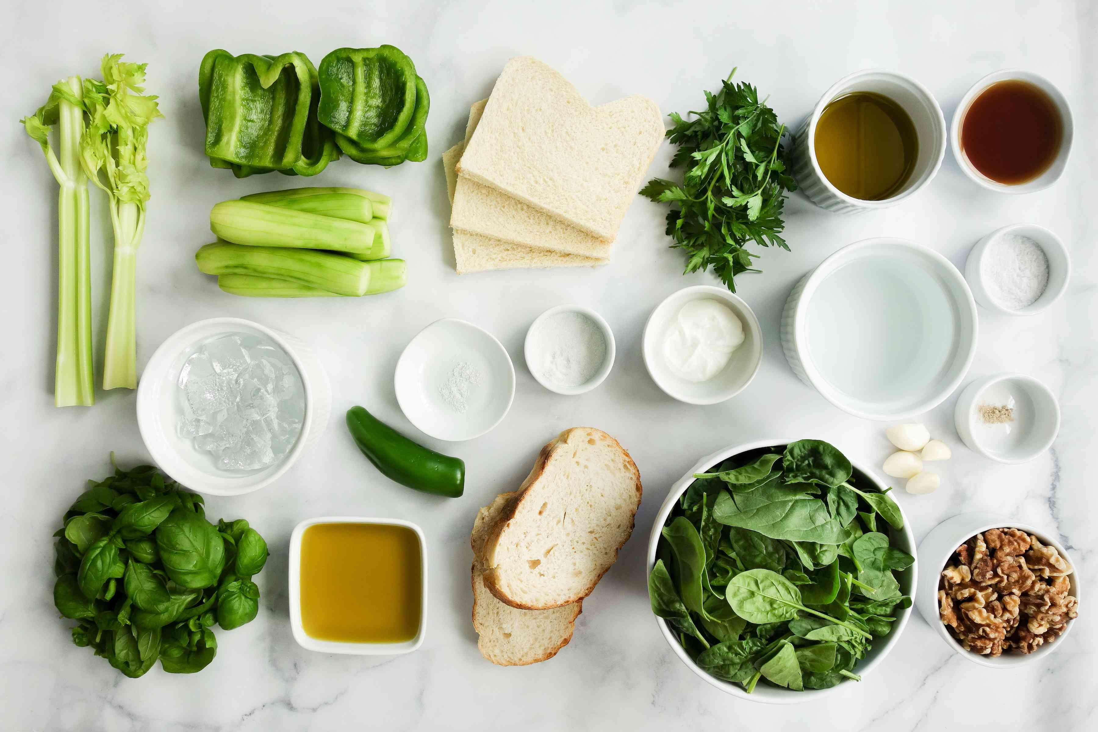 Yotam Ottolenghi's Green Gazpacho ingredients