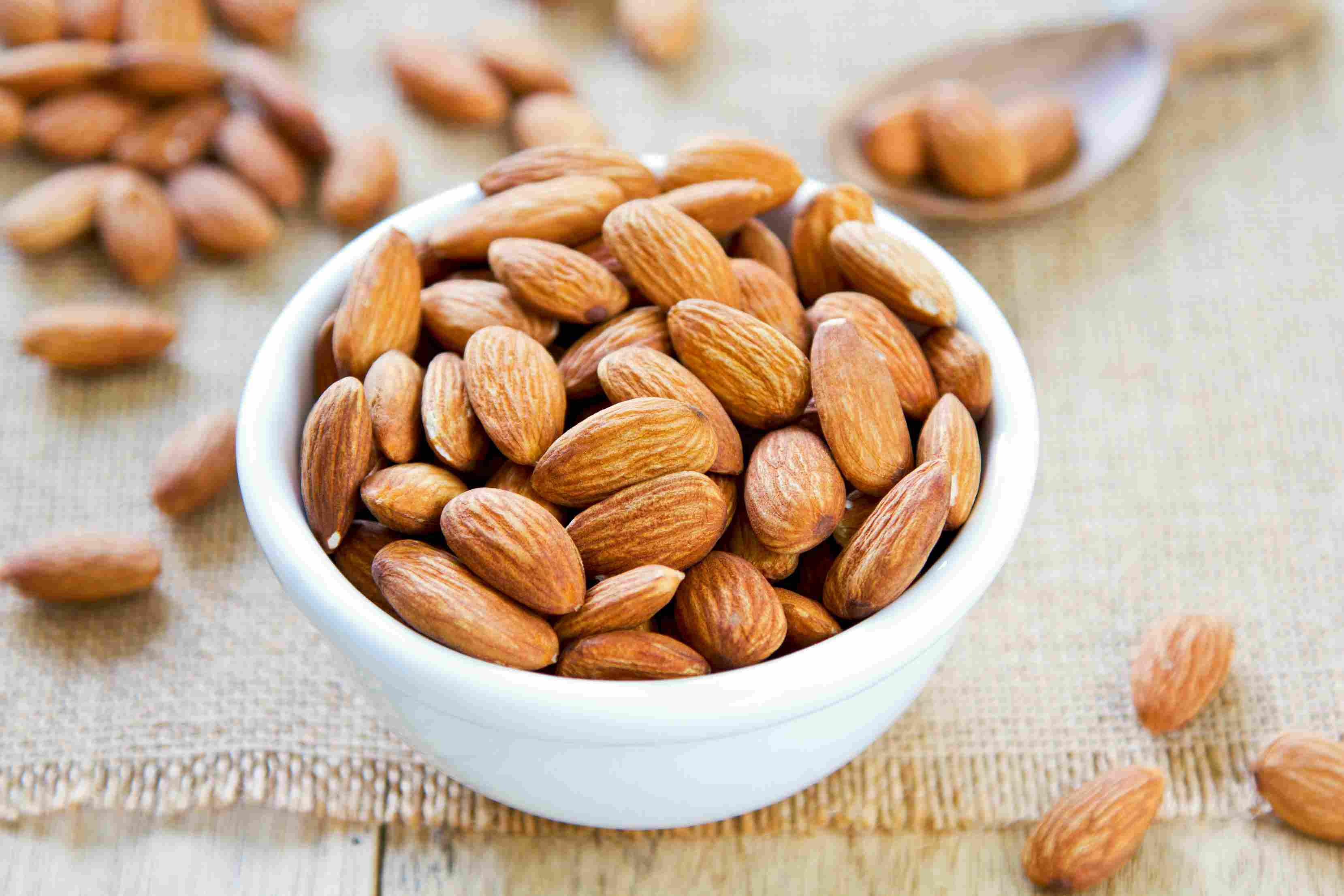 Raw almonds in a bowl