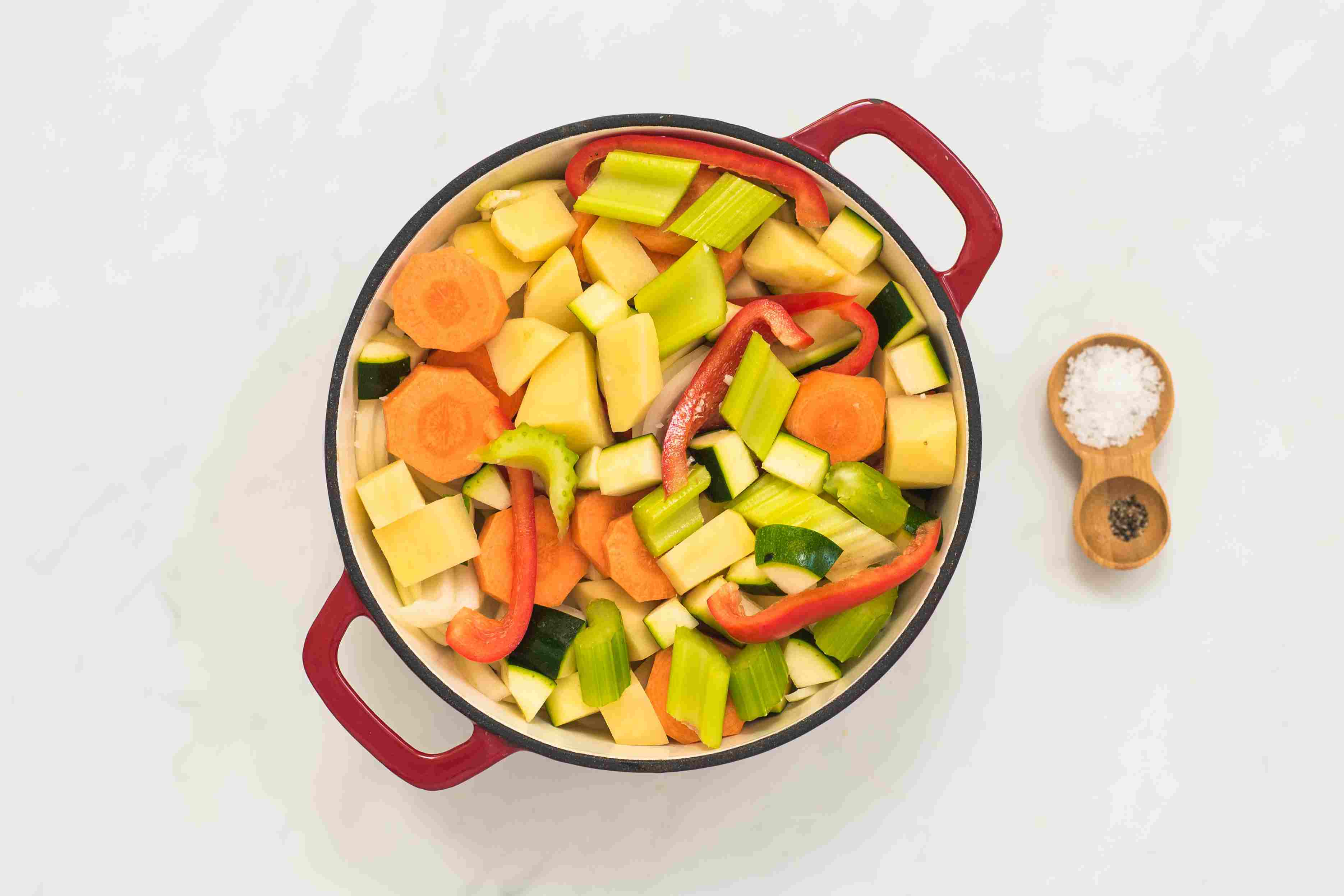 Place chicken and vegetables in pot