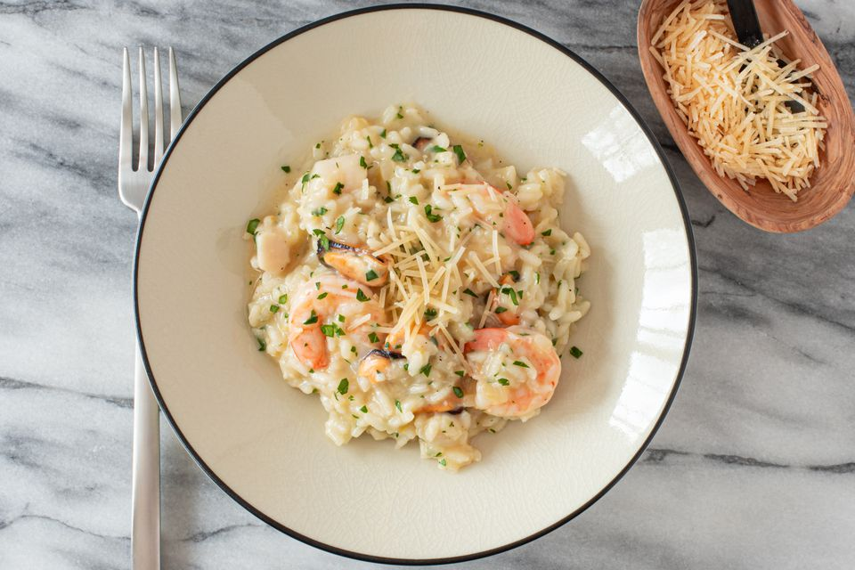 seafood risotto with parmesan cheese