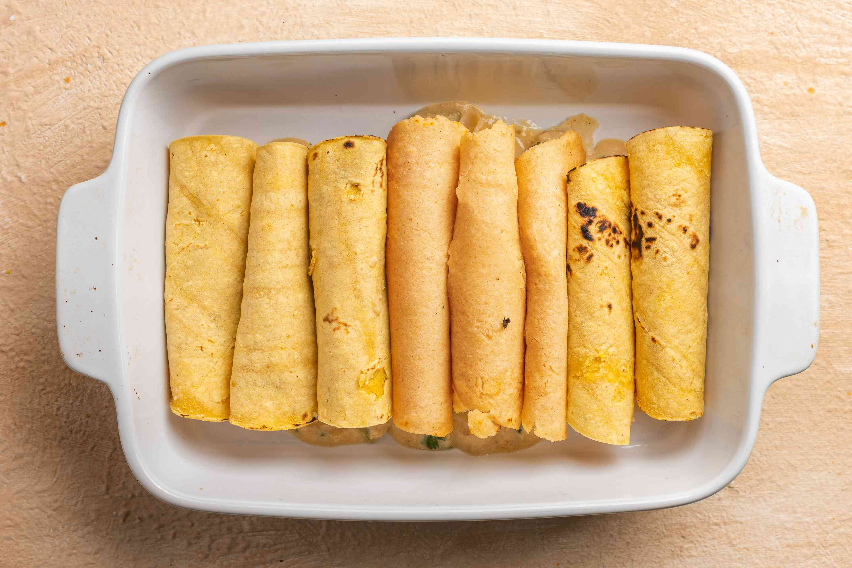 Dairy-Free Chicken Enchiladas in a baking dish