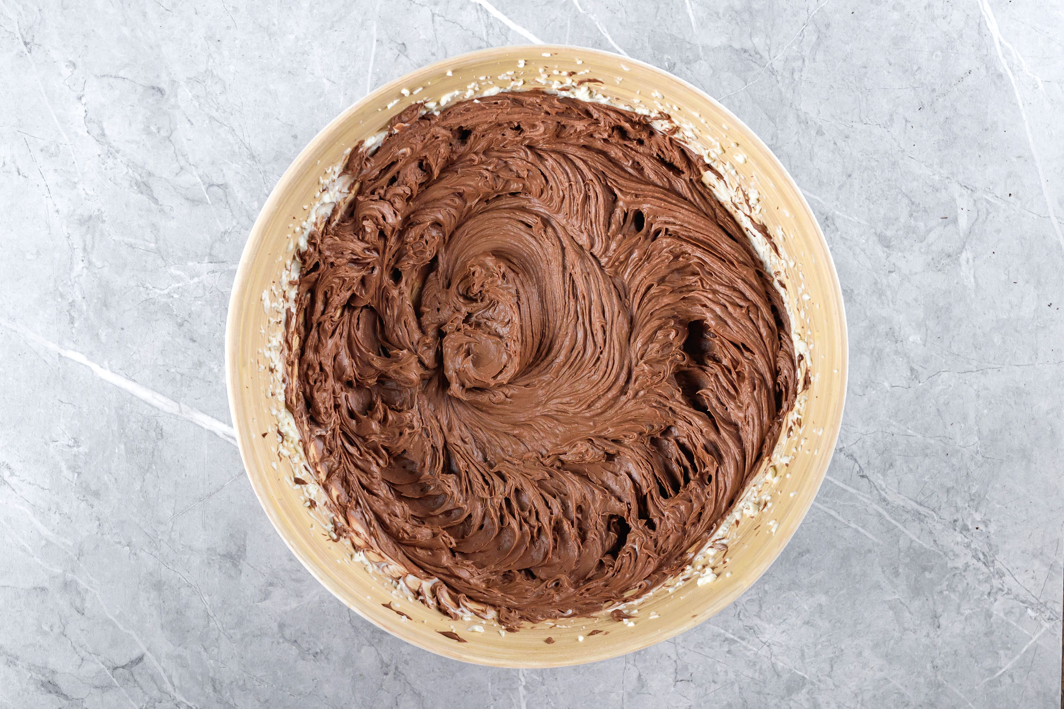 Blend in melted chocolate