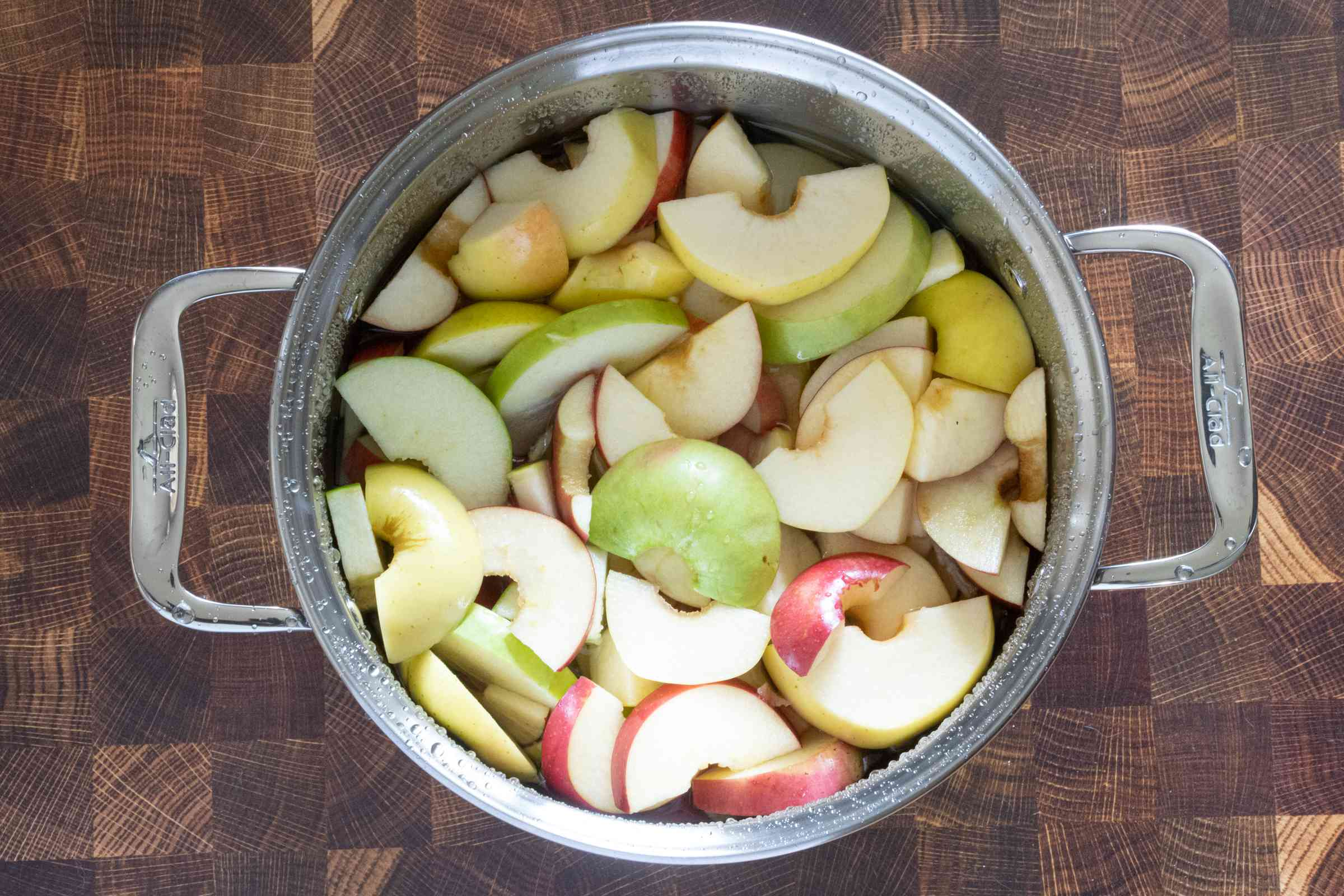 cover the apples with water (in an 8-qt stockpot)