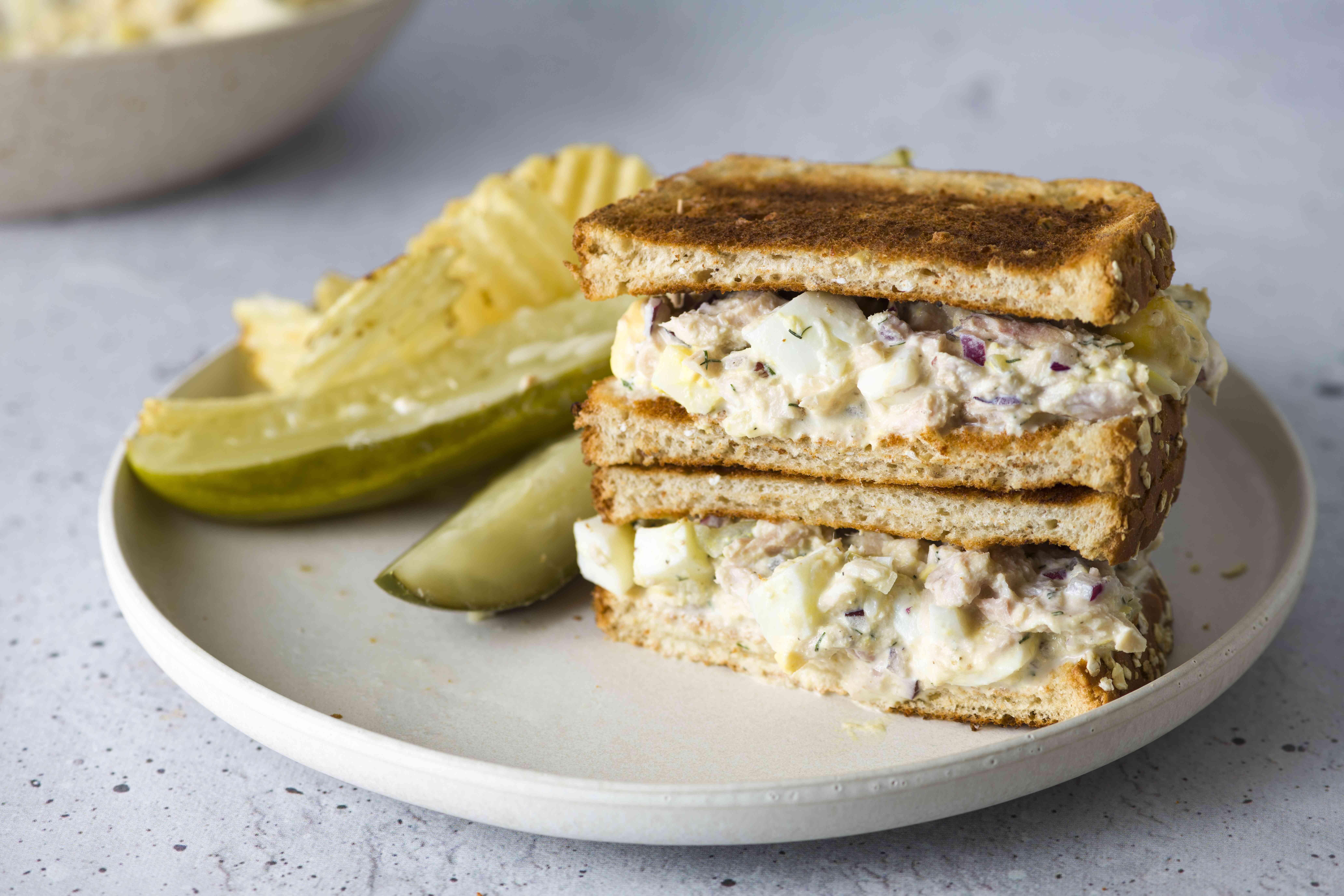 Eggs and Dill Tuna Salad sandwich on a plate