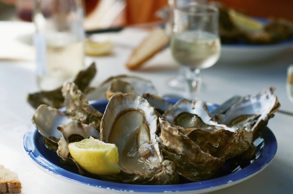 Fresh Oysters With Lemon, Close-up