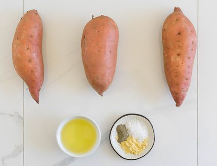 Three sweet potatoes, olive oil, and seasonings