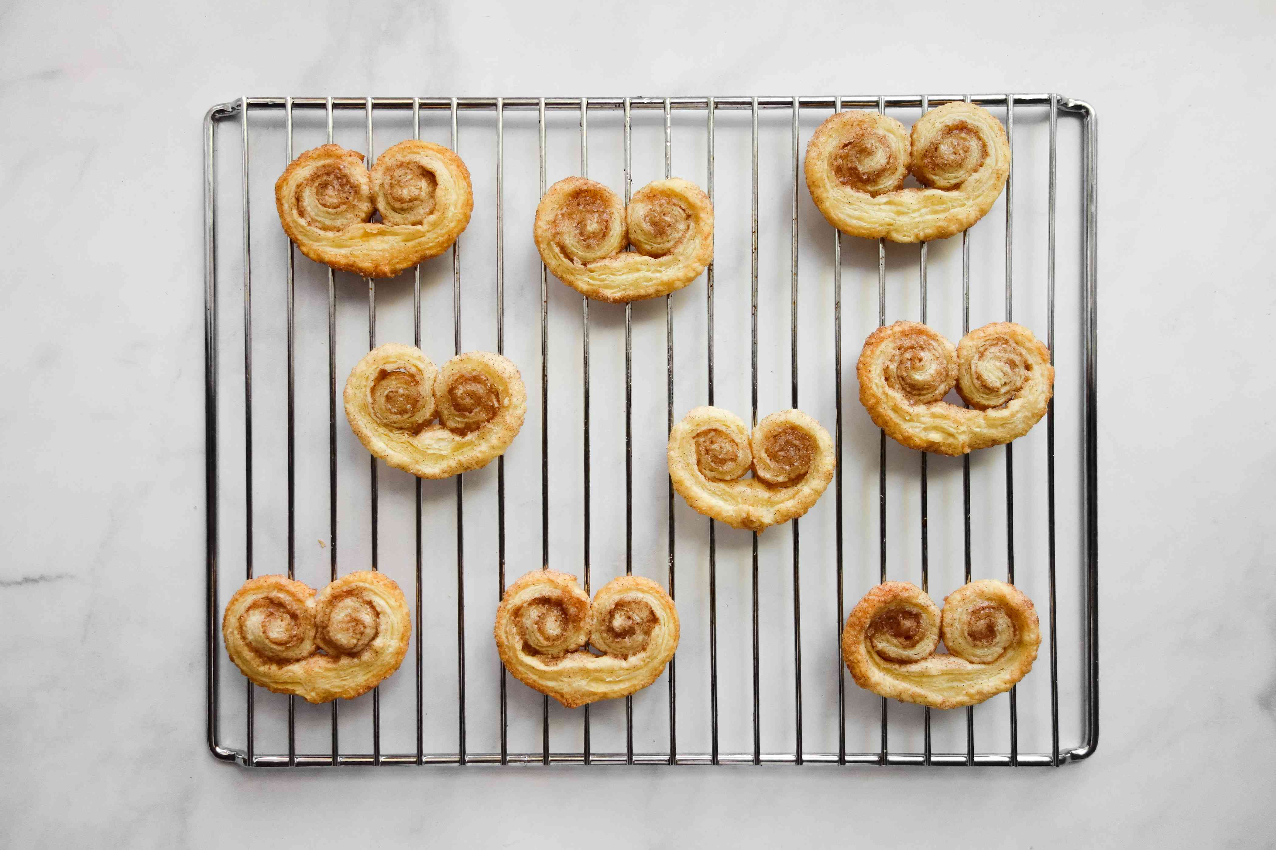 Puff Pastry Hearts on a cooling rack
