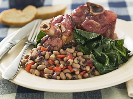 American Black Eyed Peas With Ham And Greens Recipe
