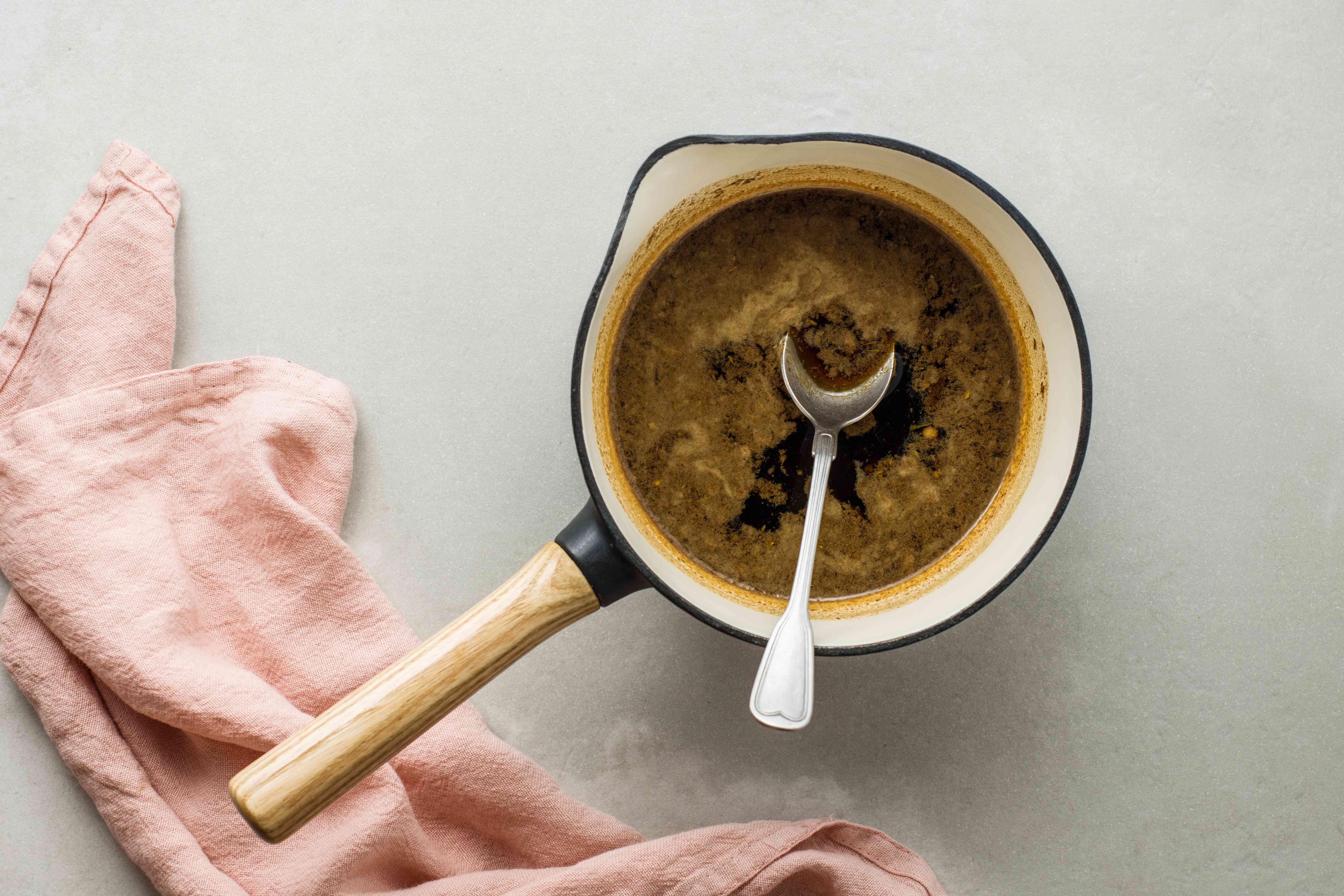 Marinade boiled in saucepan