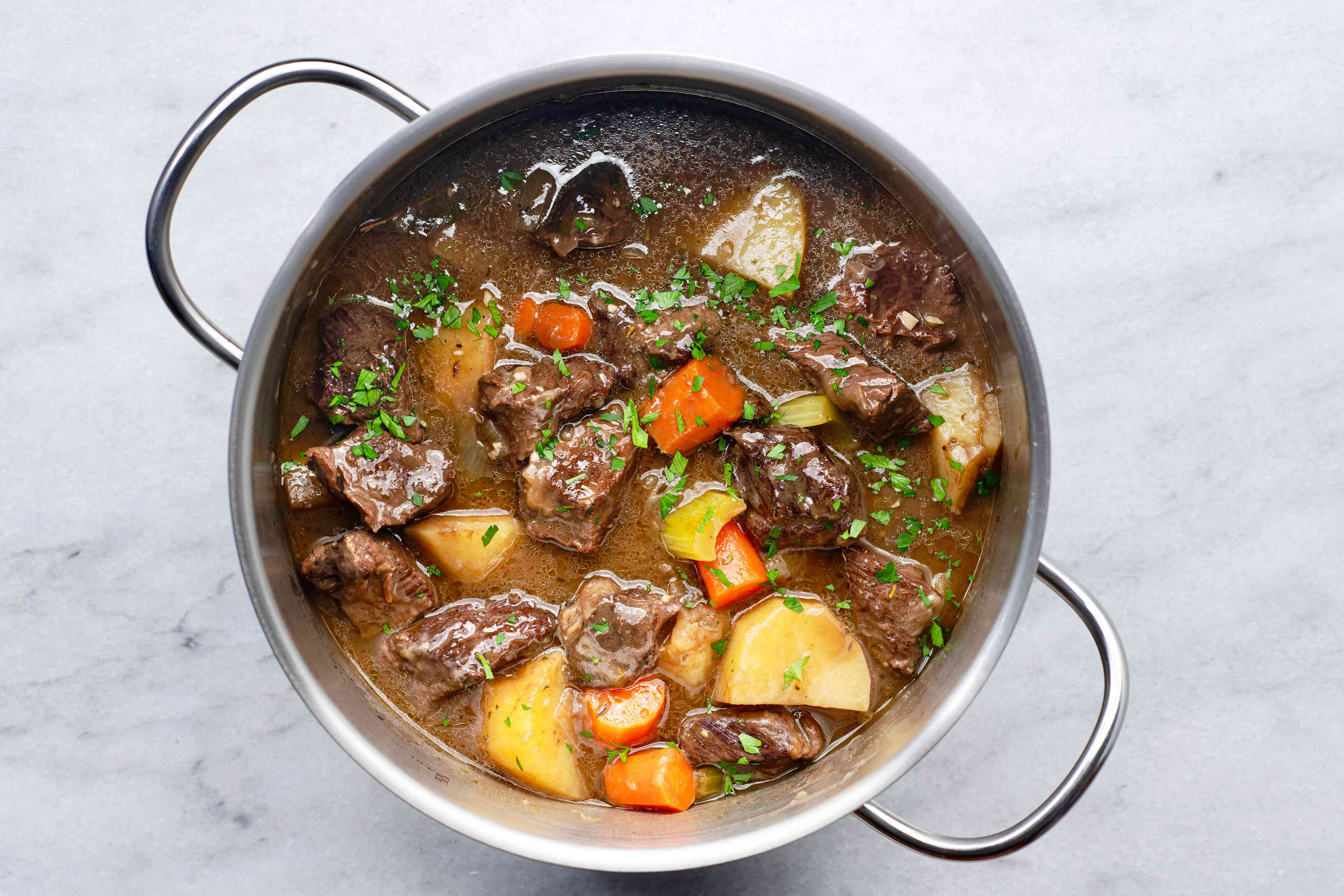 Old-Fashioned Beef Stew in a pot
