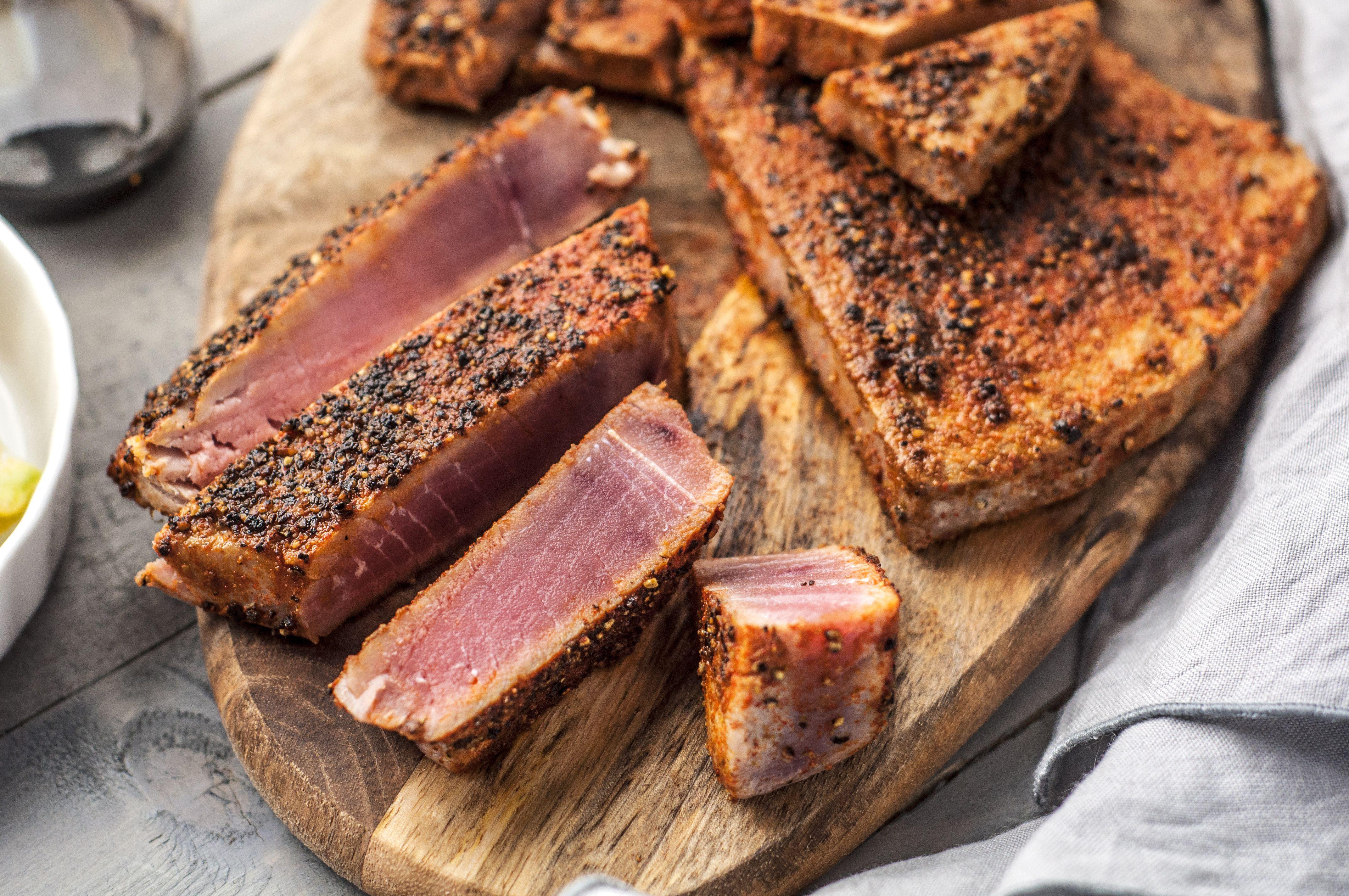 Maple and Mustard Seared Tuna Steaks Recipe | MyRecipes