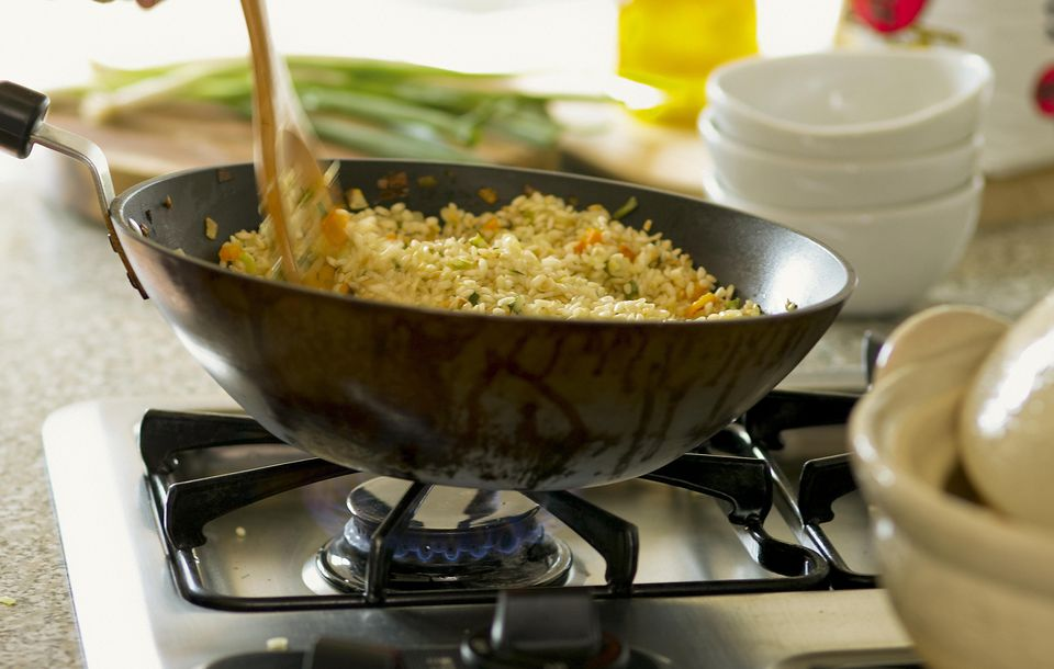 Making Fried Rice in a Wok