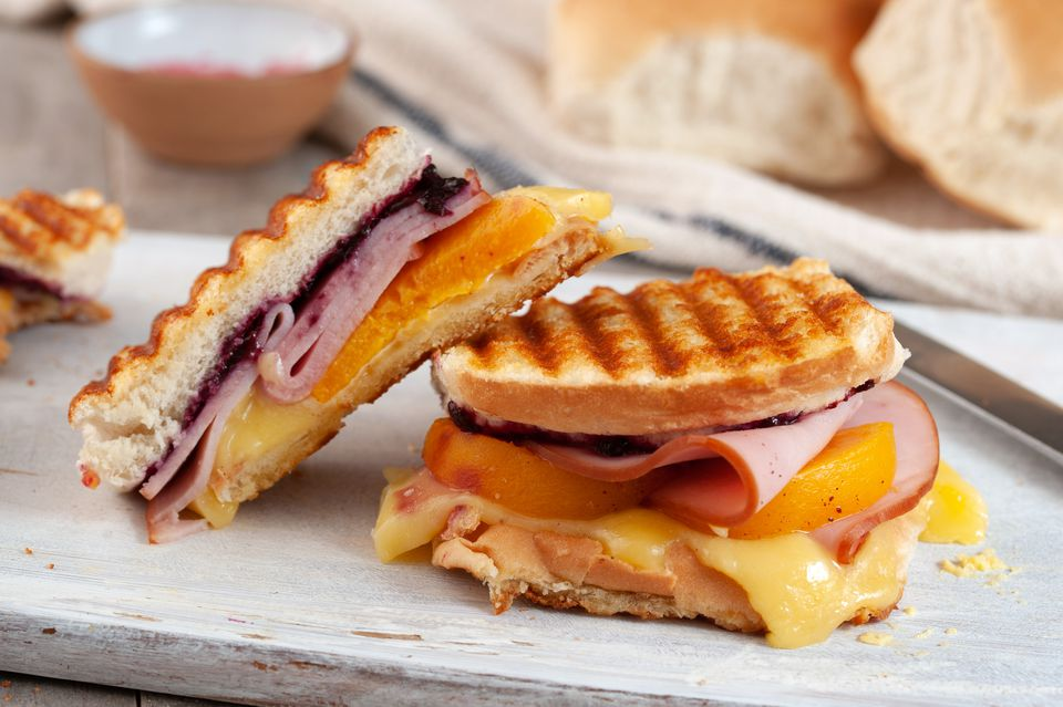 Pickled peach grilled cheese recipe