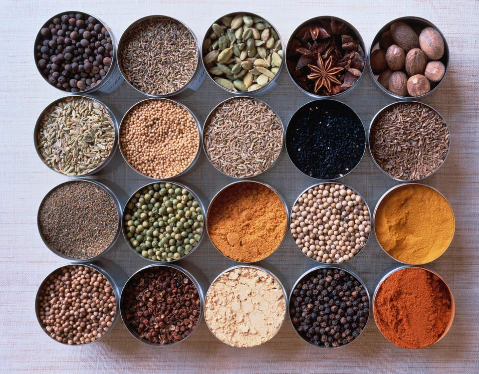 Assorted Spices in Pots