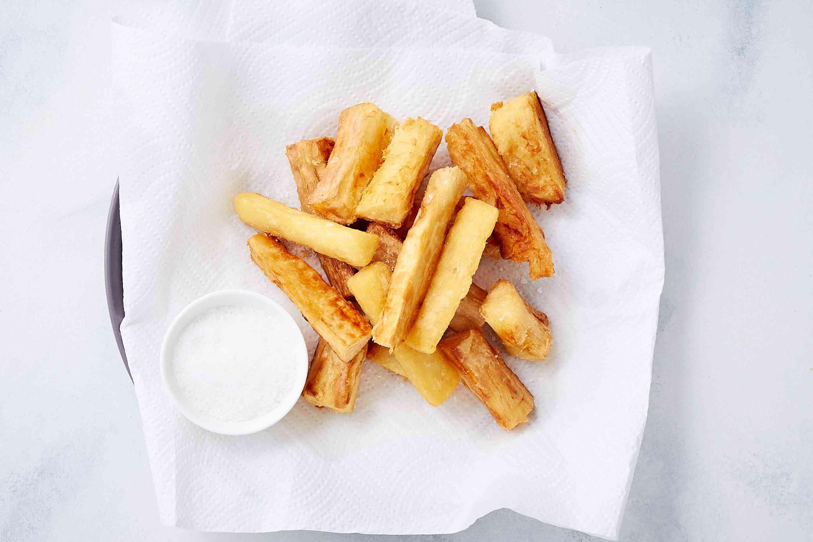 South American Yuca Fries (Yuca Frita) on paper towels