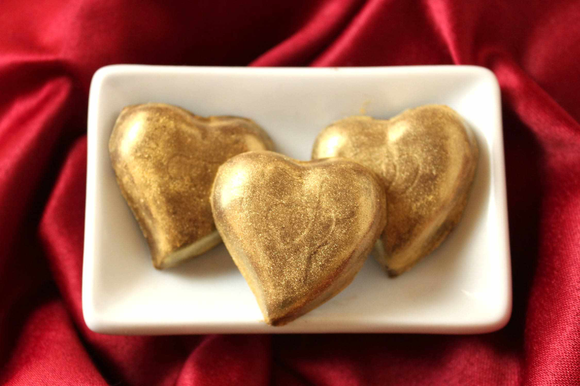 Gold painted heart truffles