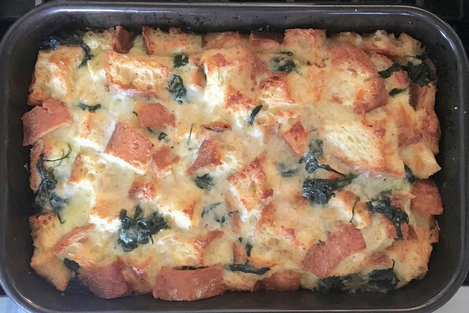 Savory Spinach and Cheese Bread Pudding