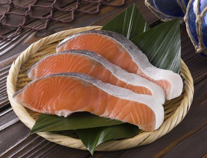 Fresh silver salmon fillets (also known as coho salmon)