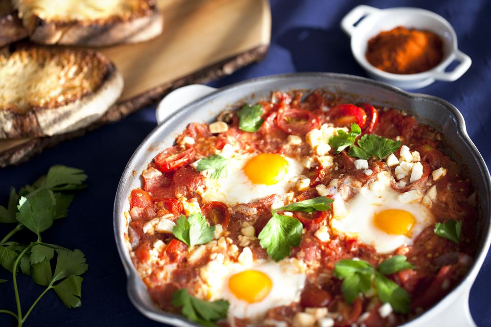 Shakshuka in a cooking pan